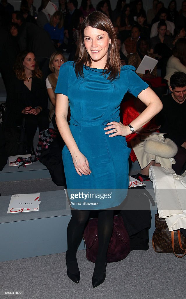 TV personality <a gi-track='captionPersonalityLinkClicked' href=/galleries/search?phrase=Gail+Simmons&family=editorial&specificpeople=4337508 ng-click='$event.stopPropagation()'>Gail Simmons</a> attends the Milly By Michelle Smith Fall 2012 fashion show during Mercedes-Benz Fashion Week at The Stage at Lincoln Center on February 15, 2012 in New York City.