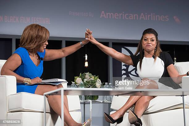 TV personality Gayle King and actress Taraji P Henson speak onstage during the 2015 American Black Film Festival at New York Hilton Grand Ballroom on...