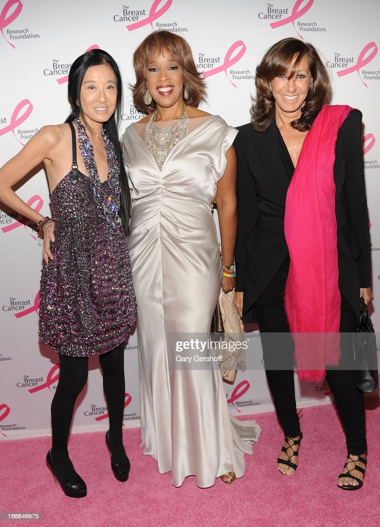 TV personality <a gi-track='captionPersonalityLinkClicked' href=/galleries/search?phrase=Gayle+King&family=editorial&specificpeople=215469 ng-click='$event.stopPropagation()'>Gayle King</a> (C) and designers Vera Wang (L) and Donna Karan attend The Breast Cancer Research Foundation's 2013 Hot Pink Party at The Waldorf=Astoria on April 17, 2013 in New York City.
