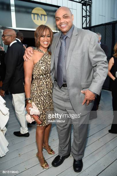 TV personality Gayle King and former NBA player/tv personality Charles Barkley attends the 2017 NBA Awards Live on TNT on June 26 2017 in New York...