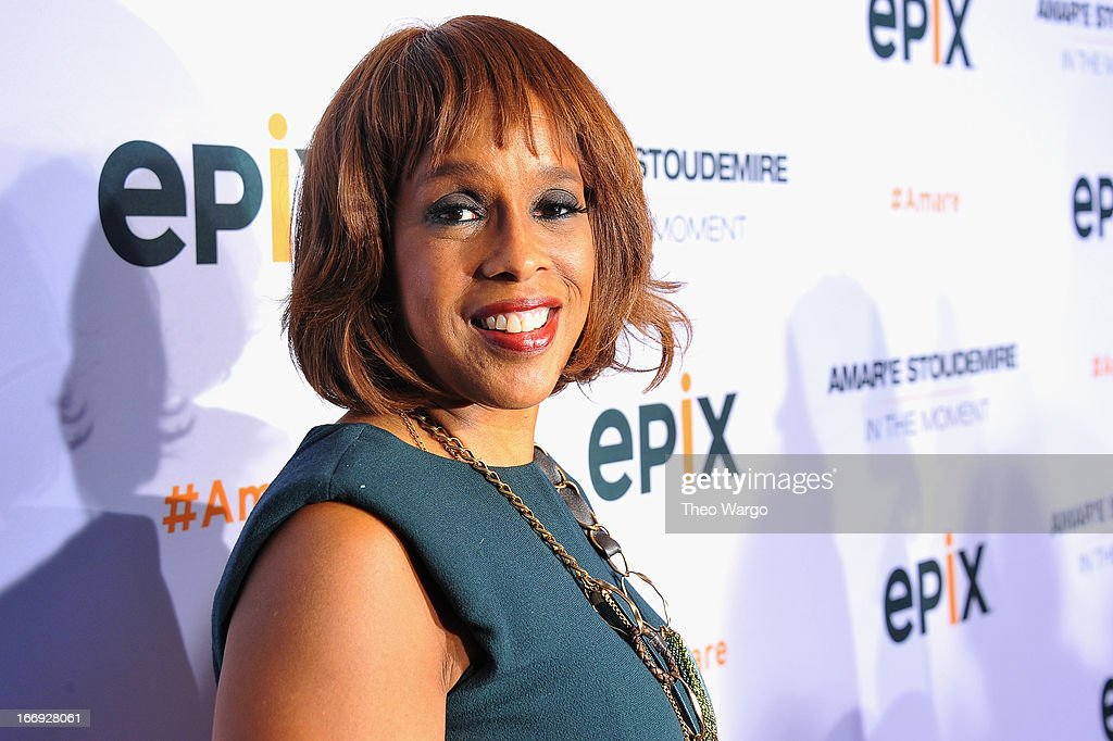 TV personality Gayle King attends EPIX premiere of Amar'e Stoudemire IN THE MOMENT on April 18, 2013 in New York City.