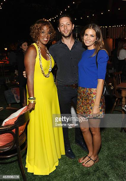TV personality Gayle King fashion writer Derek Blasberg and Dasha Zhukova attend GENETIC x Liberty Ross Launch on August 22 2014 in Beverly Hills...