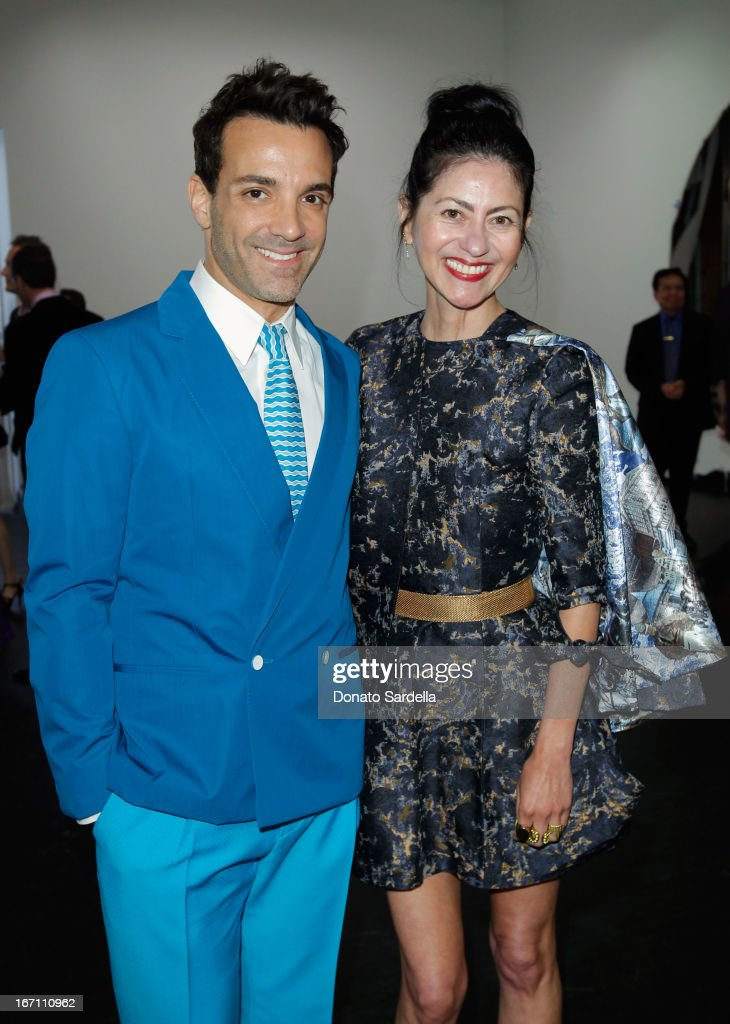 """TV personality <a gi-track='captionPersonalityLinkClicked' href=/galleries/search?phrase=George+Kotsiopoulos&family=editorial&specificpeople=2530004 ng-click='$event.stopPropagation()'>George Kotsiopoulos</a> and fashion designer <a gi-track='captionPersonalityLinkClicked' href=/galleries/search?phrase=Magda+Berliner&family=editorial&specificpeople=227425 ng-click='$event.stopPropagation()'>Magda Berliner</a> attend """"Yesssss!"""" MOCA Gala 2013, Celebrating the Opening of the Exhibition Urs Fischer, at MOCA Grand Avenue and The Geffen Contemporary on April 20, 2013 in Los Angeles, California."""