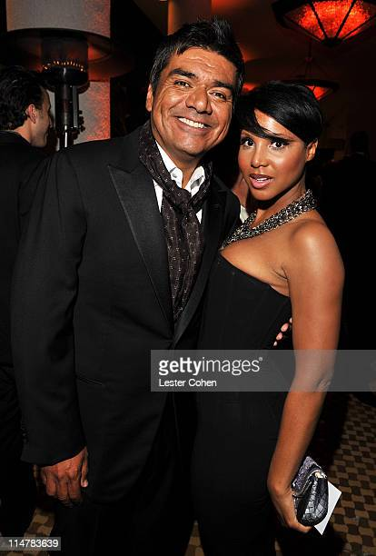 TV Personality George Lopez and singer Toni Braxton arrives at the 52nd Annual GRAMMY Awards Salute To Icons Honoring Doug Morris held at The Beverly...