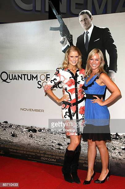 TV personality Georgia Sinclair and friend arrive for the premiere of 'Quantum of Solace' at the Village Cinemas Doncaster on November 16 2008 in...