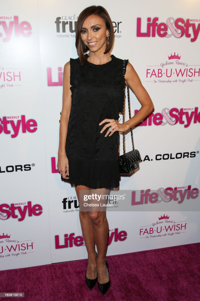 TV personality <a gi-track='captionPersonalityLinkClicked' href=/galleries/search?phrase=Giuliana+Rancic&family=editorial&specificpeople=556124 ng-click='$event.stopPropagation()'>Giuliana Rancic</a> arrives at Life & Style's Hollywood in Bright Pink event hosted by <a gi-track='captionPersonalityLinkClicked' href=/galleries/search?phrase=Giuliana+Rancic&family=editorial&specificpeople=556124 ng-click='$event.stopPropagation()'>Giuliana Rancic</a> at Bagatelle on October 9, 2013 in Los Angeles, California.