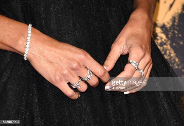 TV personality Giuliana Rancic jewelry detail attends the 69th Annual Primetime Emmy Awards at Microsoft Theater on September 17 2017 in Los Angeles...