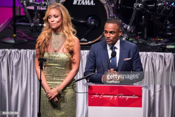 TV personality Gizelle Bryant and actor Hill Harper speak at the Southern Company hosted quotAn Evening of Recognition in honor of the Congressional...