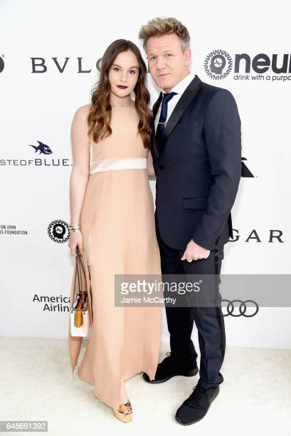 Personality Gordon Ramsay and Holly Anna Ramsay attends the 25th Annual Elton John AIDS Foundation's Oscar Viewing Party at The City of West...