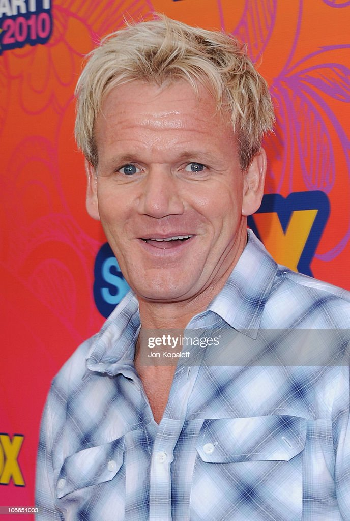 TV personality <a gi-track='captionPersonalityLinkClicked' href=/galleries/search?phrase=Gordon+Ramsay&family=editorial&specificpeople=210520 ng-click='$event.stopPropagation()'>Gordon Ramsay</a> arrives at the Fox All-Star Party at Pacific Park at the Santa Monica Pier on August 2, 2010 in Santa Monica, California.
