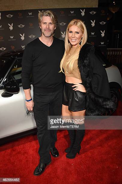 TV personality Gretchen Rossi and Slade Smiley arrive at the Playboy Party at the W Scottsdale During Super Bowl Weekend on January 30 2015 in...