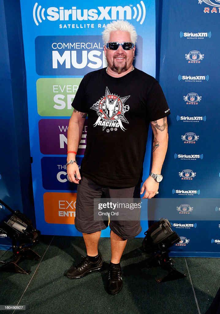 TV personality <a gi-track='captionPersonalityLinkClicked' href=/galleries/search?phrase=Guy+Fieri&family=editorial&specificpeople=4593795 ng-click='$event.stopPropagation()'>Guy Fieri</a> attends SiriusXM's Live Broadcast from Radio Row during Bowl XLVII week on February 1, 2013 in New Orleans, Louisiana.
