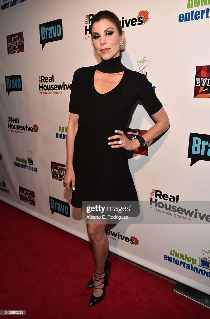 TV personality Heather Dubrow attends the premiere party for Bravo's 'The Real Housewives of Orange County' 10 year celebration at Boulevard3 on June...