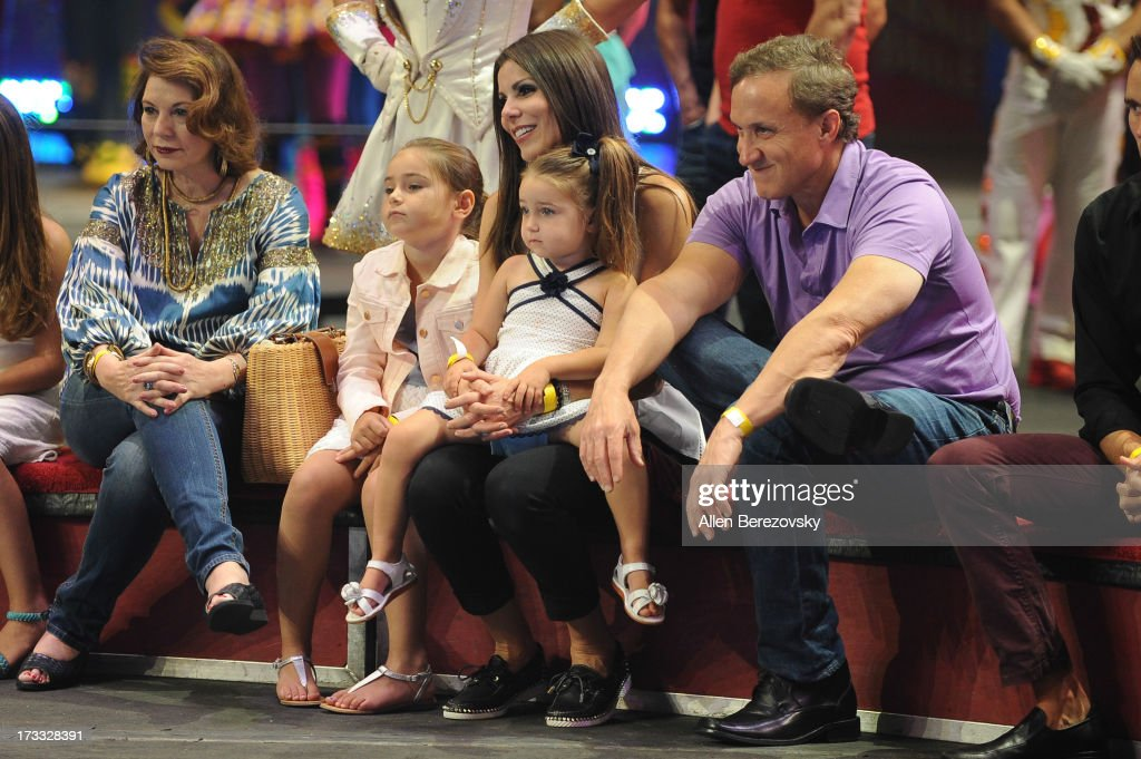 TV personality Heather Dubrow, husband Terry Dubrow and family attend the celebrity premiere of Ringling Bros. and Barnum & Bailey's 'Built To Amaze!' tour at Staples Center on July 11, 2013 in Los Angeles, California.