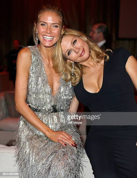 TV personality Heidi Klum and actress Veronica Ferres attend The Weinstein Company and Netflix Golden Globe Party presented with DeLeon Tequila Laura...