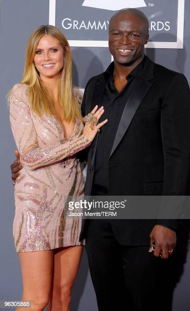 TV personality Heidi Klum and singer Seal arrive at the 52nd Annual GRAMMY Awards held at Staples Center on January 31 2010 in Los Angeles California
