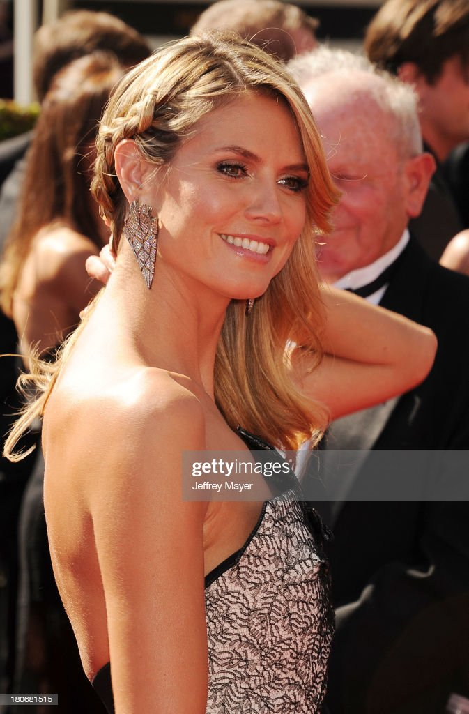 TV personality <a gi-track='captionPersonalityLinkClicked' href=/galleries/search?phrase=Heidi+Klum&family=editorial&specificpeople=178954 ng-click='$event.stopPropagation()'>Heidi Klum</a> attends the 2013 Creative Arts Emmy Awards at Nokia Theatre L.A. Live on September 15, 2013 in Los Angeles, California.