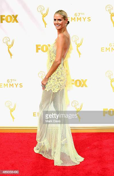 TV personality Heidi Klum attends the 67th Annual Primetime Emmy Awards at Microsoft Theater on September 20 2015 in Los Angeles California