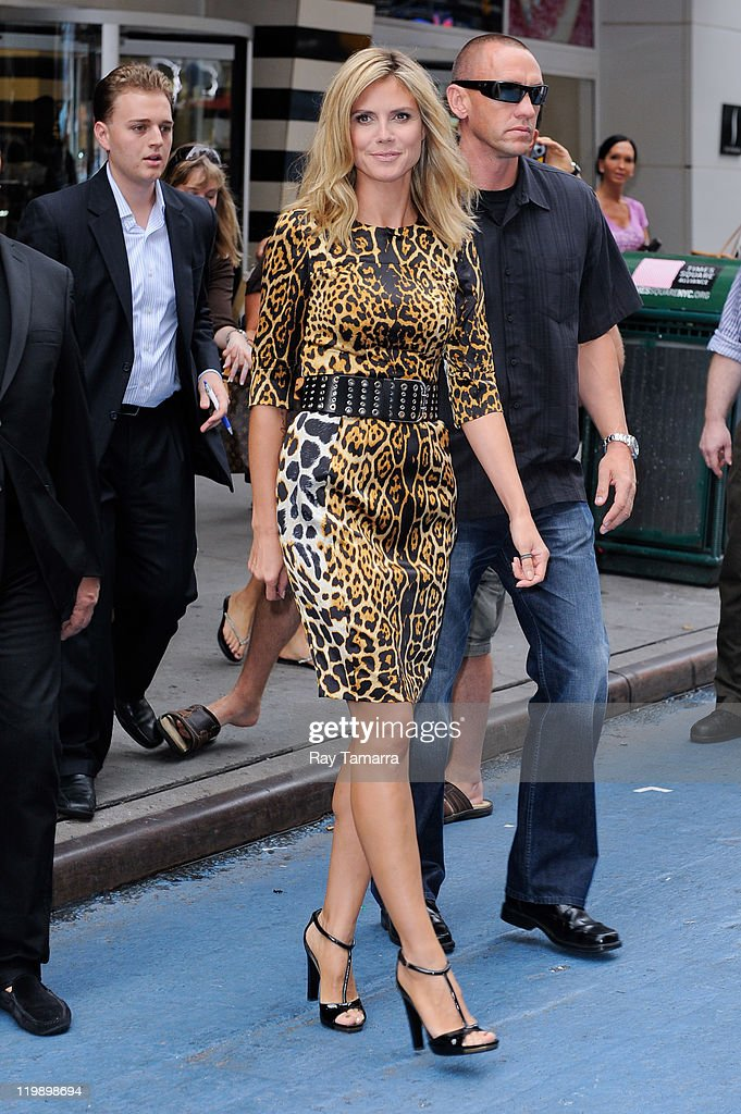 TV personality Heidi Klum enters the 'Good Morning America' taping at the ABC Times Square Studios on July 25 2011 in New York City