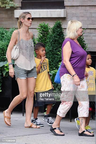 TV personality Heidi Klum Henry Samuel Erna Klum Johan Samuel walk in Soho on June 21 2011 in New York City