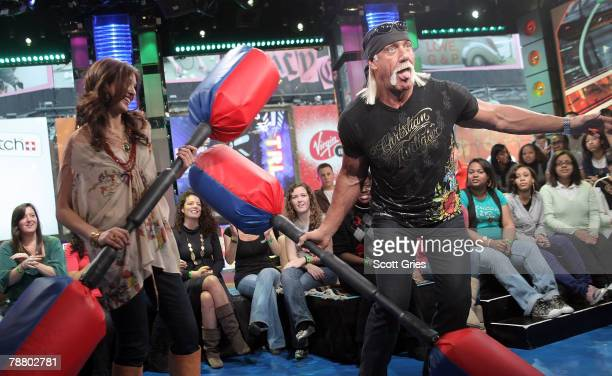 TV personality Hulk Hogan appears on stage with host Lyndsey Rodrigues during MTV's Total Request Live at the MTV Times Square Studios January 7 2008...