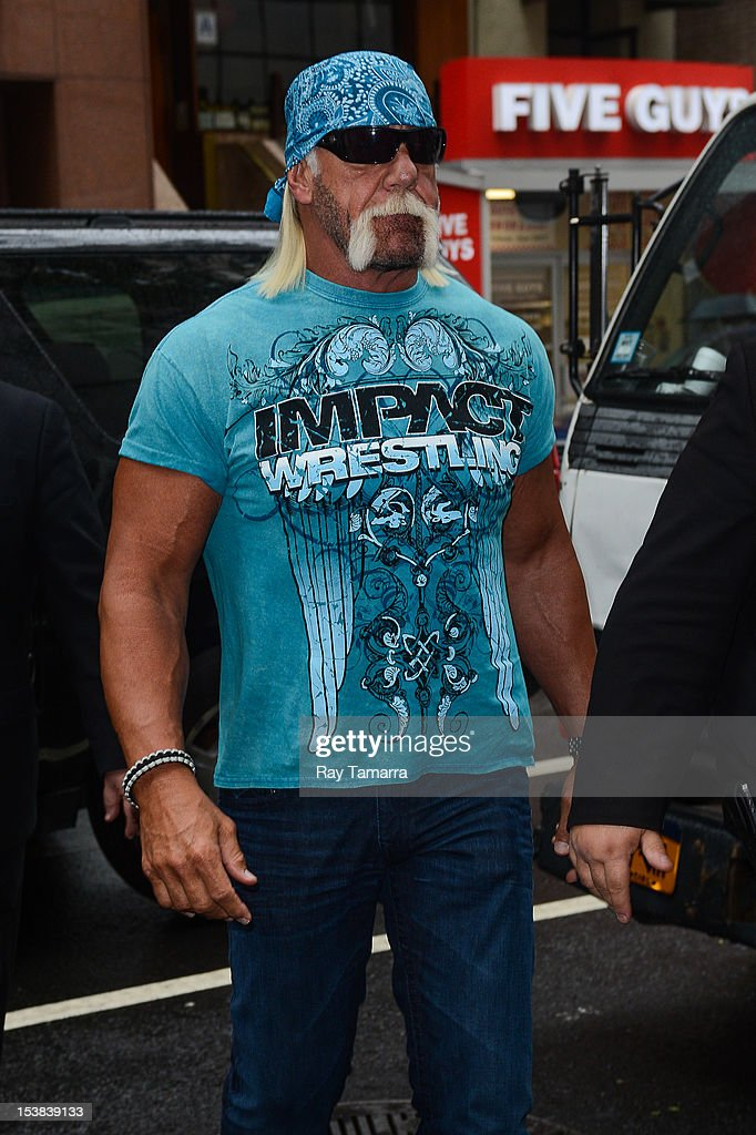 TV personality <a gi-track='captionPersonalityLinkClicked' href=/galleries/search?phrase=Hulk+Hogan&family=editorial&specificpeople=209432 ng-click='$event.stopPropagation()'>Hulk Hogan</a> enters the 'Today Show' taping at the NBC Rocefeller Center Studios on October 9, 2012 in New York City.