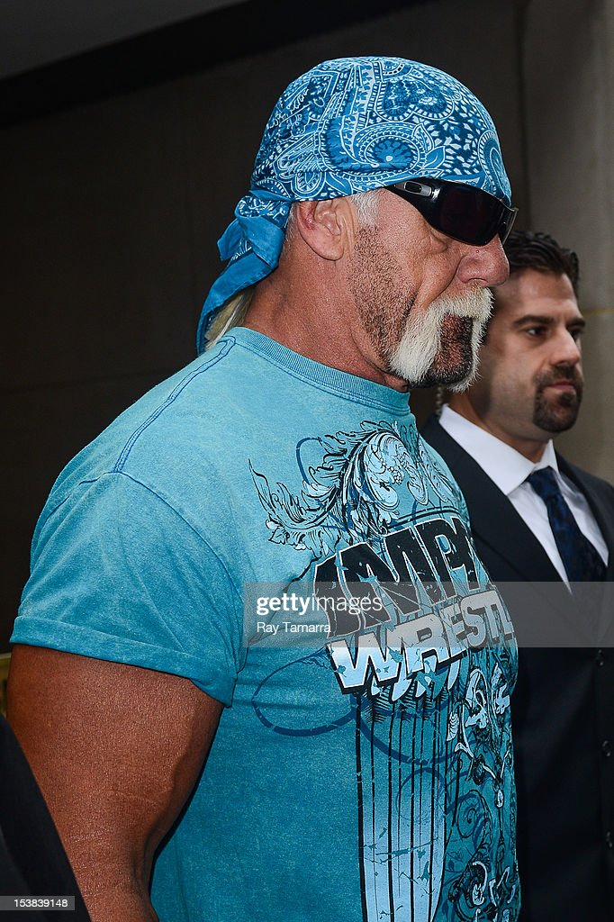 TV personality <a gi-track='captionPersonalityLinkClicked' href=/galleries/search?phrase=Hulk+Hogan&family=editorial&specificpeople=209432 ng-click='$event.stopPropagation()'>Hulk Hogan</a> leaves the 'Today Show' taping at the NBC Rocefeller Center Studios on October 9, 2012 in New York City.