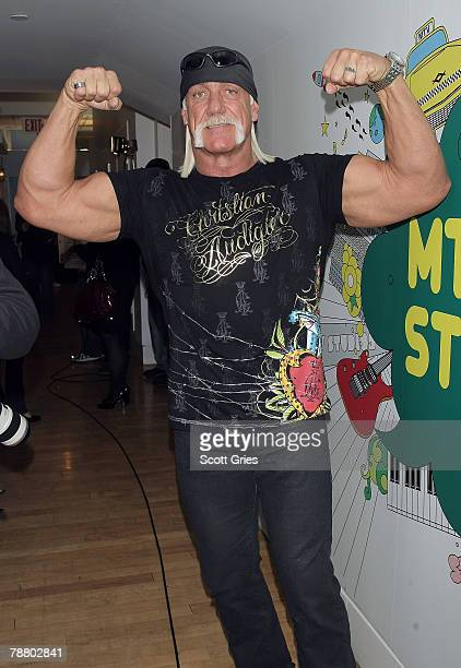 TV personality Hulk Hogan poses for a photo backstage during MTV's Total Request Live at the MTV Times Square Studios January 7 2008 in New York City