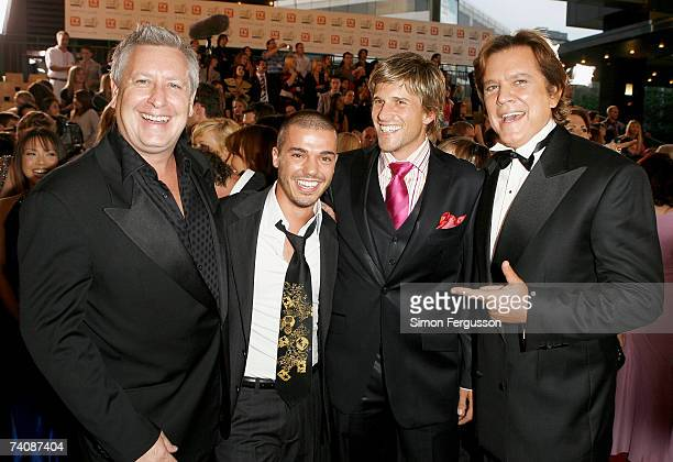 TV personality Ian 'Dicko' Dickson singer Anthony Callea TV host Andrew G and gameshow host Mark Holden arrive at the 2007 TV Week Logie Awards at...
