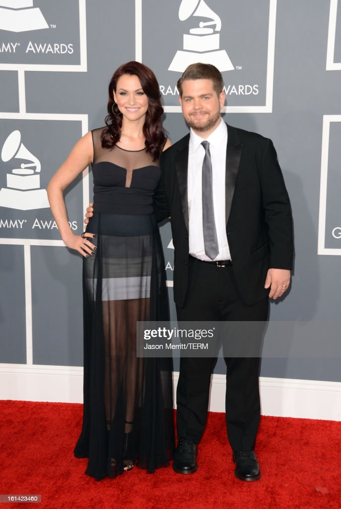 TV personality <a gi-track='captionPersonalityLinkClicked' href=/galleries/search?phrase=Jack+Osbourne&family=editorial&specificpeople=202112 ng-click='$event.stopPropagation()'>Jack Osbourne</a> (R) and Lisa Stelly arrive at the 55th Annual GRAMMY Awards at Staples Center on February 10, 2013 in Los Angeles, California.