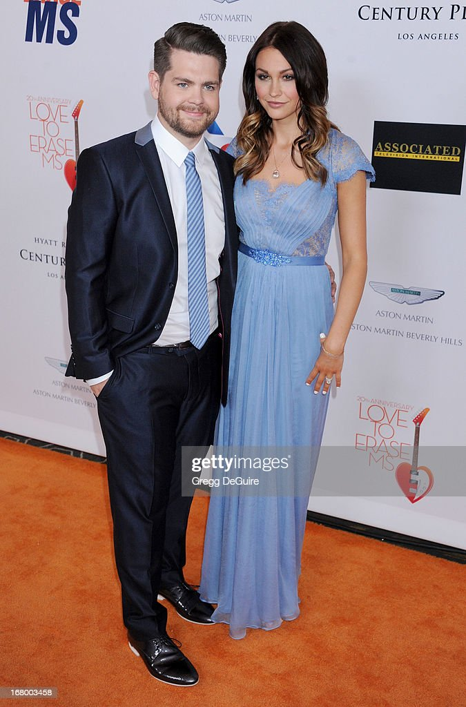 TV personality Jack Osbourne and wife Lisa Stelly arrive at the 20th Annual Race To Erase MS Gala 'Love To Erase MS' at the Hyatt Regency Century Plaza on May 3, 2013 in Century City, California.