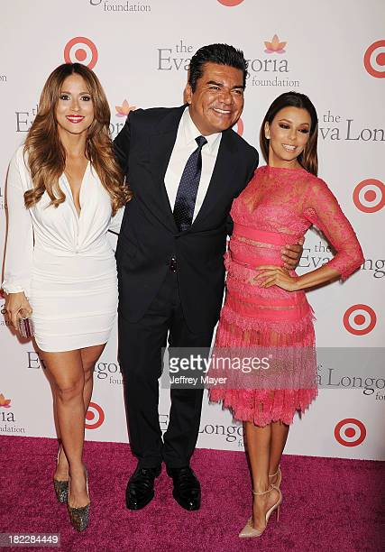 TV personality Jackie Guerrido actors George Lopez and Eva Longoria arrive at the Eva Longoria Foundation Dinner at Beso restaurant on September 28...