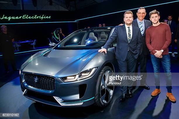 TV personality James Corden actor Vinnie Jones and singer Niall Horan with the Jaguar IPACE Concept an allelectric performance SUV ahead of its...