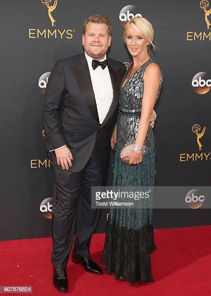 TV personality James Corden and produccer Julia Carey attend the 68th Annual Primetime Emmy Awards at Microsoft Theater on September 18 2016 in Los...