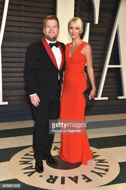 TV personality James Corden and producer Julia Carey attend the 2017 Vanity Fair Oscar Party hosted by Graydon Carter at Wallis Annenberg Center for...