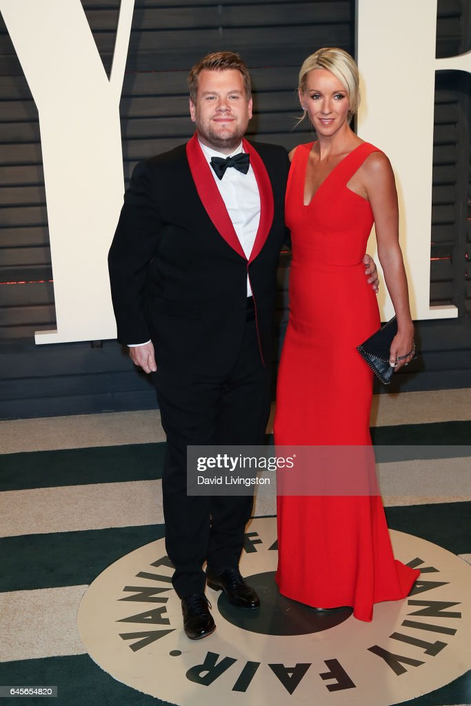 TV personality James Corden (L) and producer Julia Carey attend the 2017 Vanity Fair Oscar Party hosted by Graydon Carter at the Wallis Annenberg Center for the Performing Arts on February 26, 2017 in Beverly Hills, California.