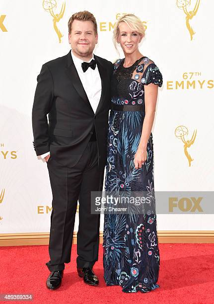 TV personality James Corden and producer Julia Carey attend the 67th Annual Primetime Emmy Awards at Microsoft Theater on September 20 2015 in Los...
