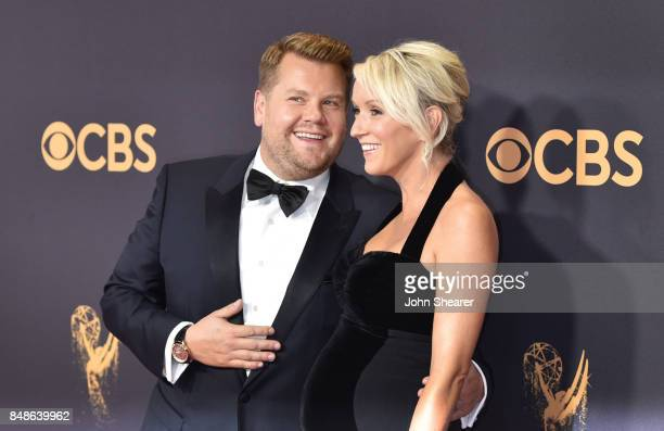 TV personality James Corden and producer Julia Carey attend the 69th Annual Primetime Emmy Awards at Microsoft Theater on September 17 2017 in Los...