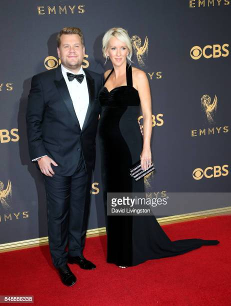 TV personality James Corden and producer Julia Carey attend the 69th Annual Primetime Emmy Awards Arrivals at Microsoft Theater on September 17 2017...