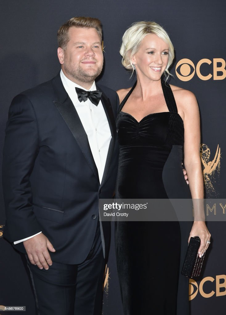 TV personality James Corden (L) and TV producer Julia Carey attend the 69th Annual Primetime Emmy Awards at Microsoft Theater on September 17, 2017 in Los Angeles, California.