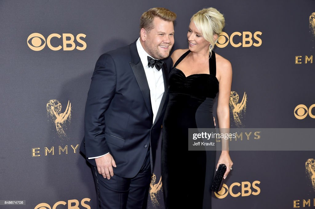 TV personality James Corden (L) and TV producer Julia Carey attends the 69th Annual Primetime Emmy Awards at Microsoft Theater on September 17, 2017 in Los Angeles, California.