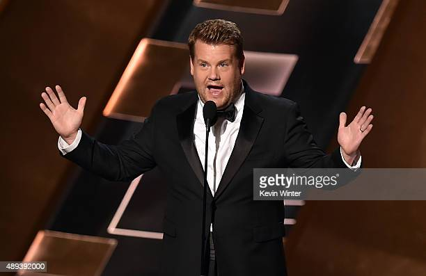TV personality James Corden speaks onstage during the 67th Annual Primetime Emmy Awards at Microsoft Theater on September 20 2015 in Los Angeles...