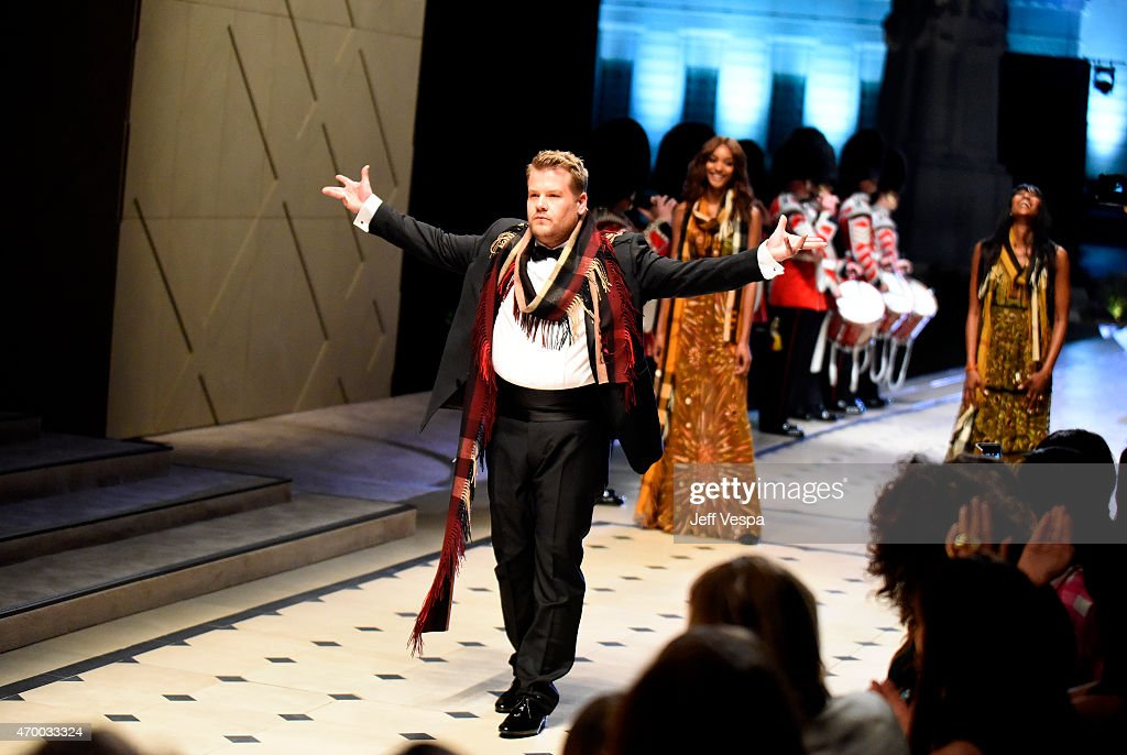 TV personality James Corden walks the runway during the Burberry 'London in Los Angeles' event at Griffith Observatory on April 16 2015 in Los...