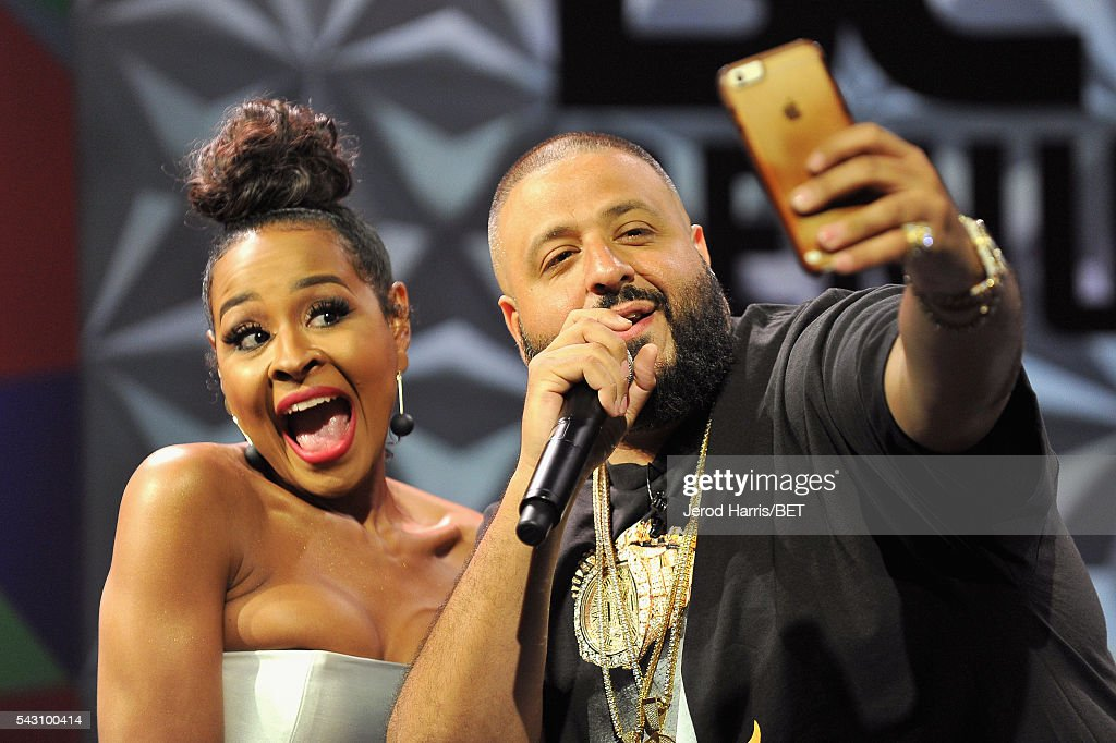 TV personality Janell Snowden (L) and <a gi-track='captionPersonalityLinkClicked' href=/galleries/search?phrase=DJ+Khaled&family=editorial&specificpeople=577862 ng-click='$event.stopPropagation()'>DJ Khaled</a> pose for a selfie photo during the Genius Talks sponsored by AT&T during the 2016 BET Experience on June 25, 2016 in Los Angeles, California.