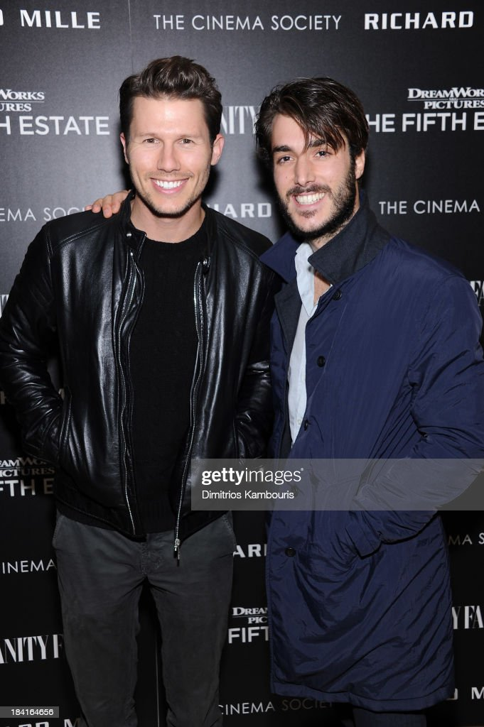 TV personality <a gi-track='captionPersonalityLinkClicked' href=/galleries/search?phrase=Jason+Dundas&family=editorial&specificpeople=578396 ng-click='$event.stopPropagation()'>Jason Dundas</a> (L) and Italo Marzotto attend 'The Fifth Estate' screening hosted by The Cinema Society with Vanity Fair and Richard Mille at Crosby Street Hotel on October 11, 2013 in New York City.