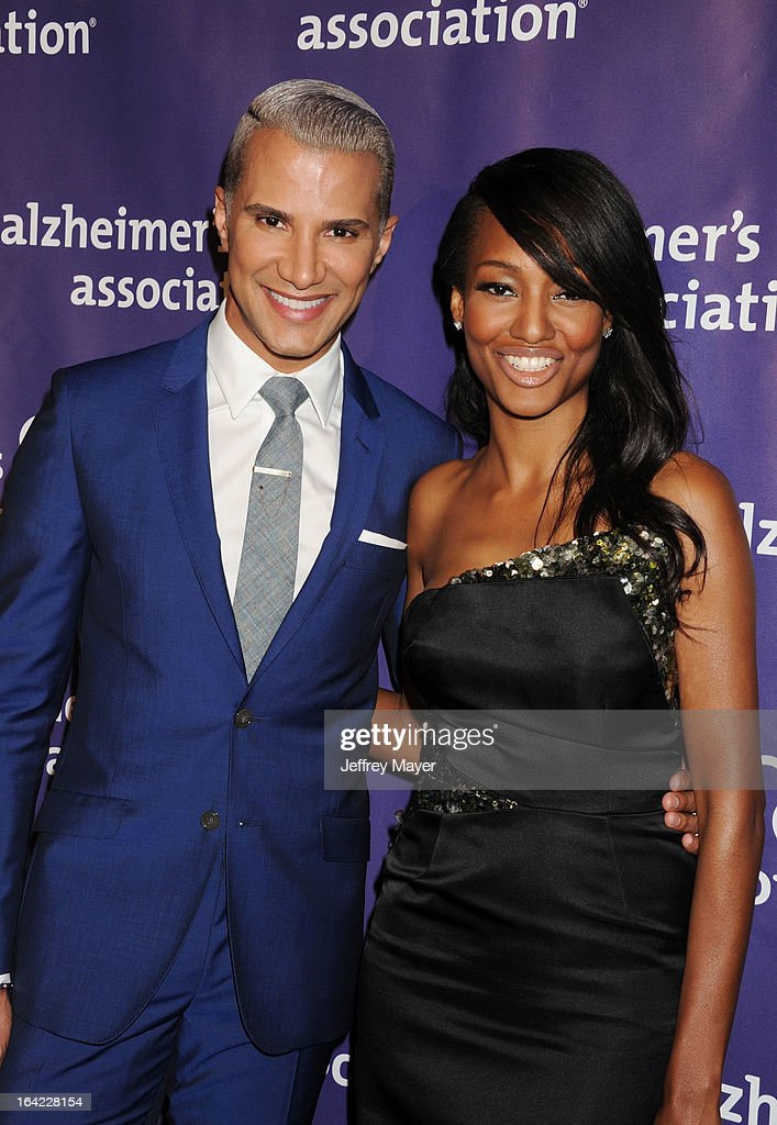 TV personality <a gi-track='captionPersonalityLinkClicked' href=/galleries/search?phrase=Jay+Manuel&family=editorial&specificpeople=557434 ng-click='$event.stopPropagation()'>Jay Manuel</a> and actress Nichole Galicia arrive at the 21st Annual 'A Night At Sardi's' to benefit the Alzheimer's Association at The Beverly Hilton Hotel on March 20, 2013 in Beverly Hills, California.
