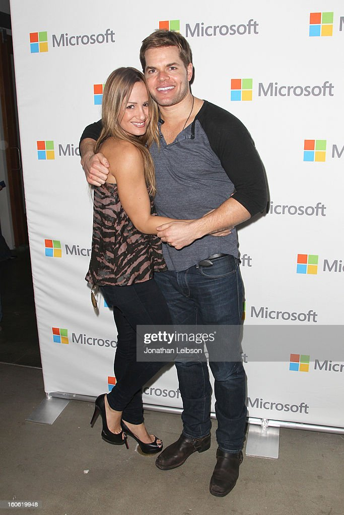 TV personality Jenn Brown (L) and actor Wes Chatham attend Super Bowl Sunday at The Microsoft Experience on February 3, 2013 in Venice, California.