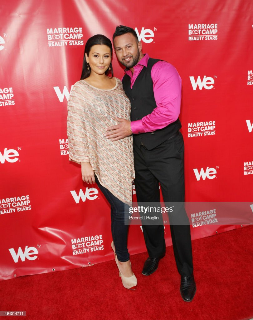 TV personality Jenni 'JWOWW' Farley and <a gi-track='captionPersonalityLinkClicked' href=/galleries/search?phrase=Roger+Mathews&family=editorial&specificpeople=7206887 ng-click='$event.stopPropagation()'>Roger Mathews</a> attend the 'Marriage Boot Camp: Reality Stars' event at Catch Rooftop on May 29, 2014 in New York City.