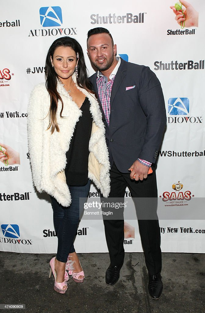 TV personality Jenni 'JWOWW' Farley and Roger Mathews pose for a picture during Jenni 'JWOWW' Farley's Birthday Celebration at Drunken Monkey on February 21, 2014 in the Staten Island borough of New York City.