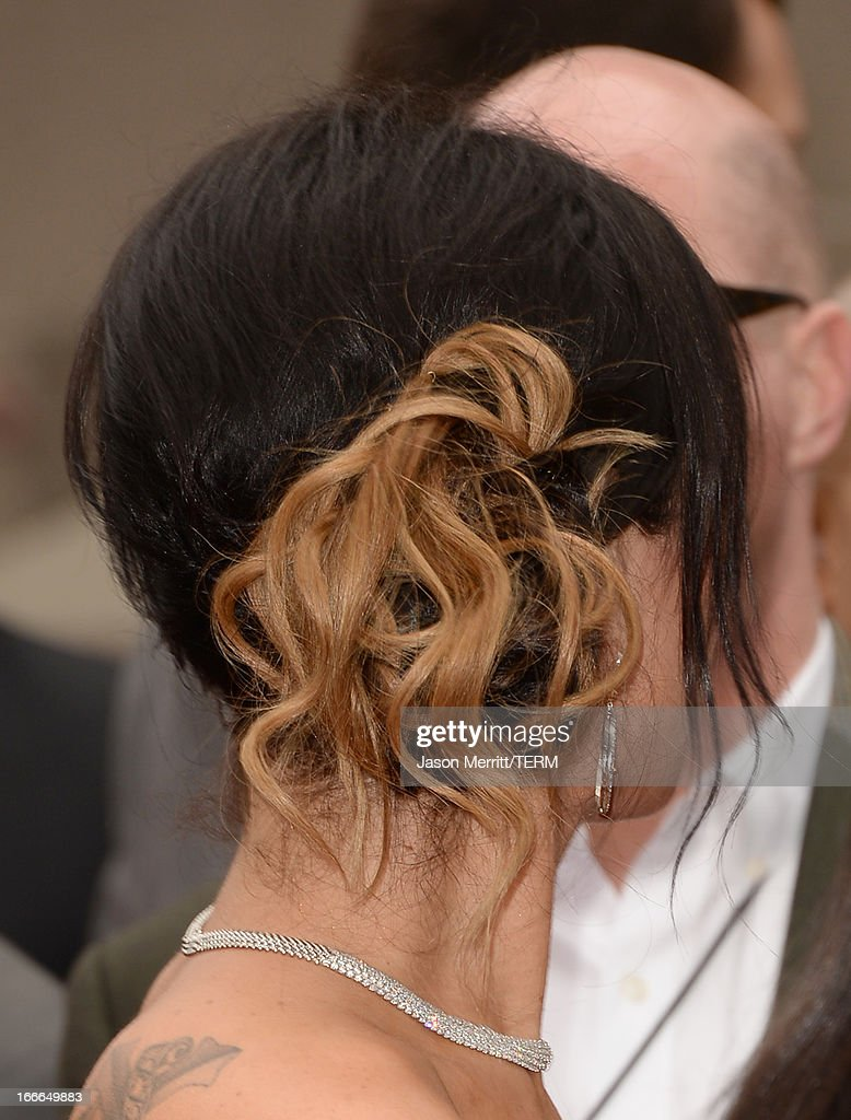 TV personality Jenni 'Jwoww' Farley (hair detail) arrives at the 2013 MTV Movie Awards at Sony Pictures Studios on April 14, 2013 in Culver City, California.